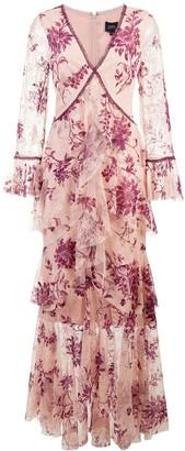 Marchesa plunge neck flocked lace gown