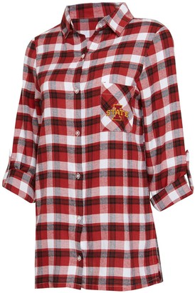 Women's Concepts Sport Cardinal/Black Iowa State Cyclones Piedmont Flannel Long Sleeve Button-Up Nightshirt