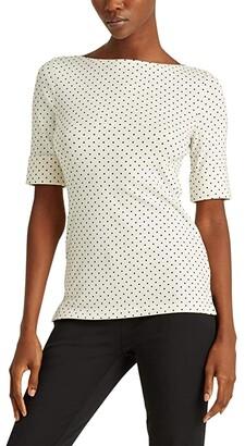 Lauren Ralph Lauren Polka Dot Cotton Blend Top (Mascarpone Cream/Polo Black) Women's Clothing