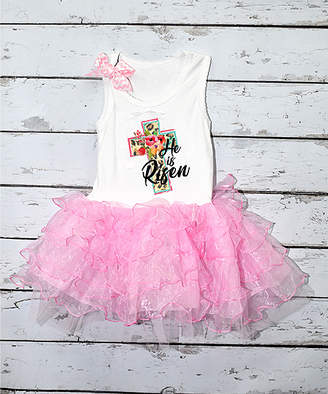 Beary Basics Girls' Tutu Dresses WHITE/PINK - White & Pink 'He Is Risen' Tutu Sleeveless Dress - Toddler & Girls