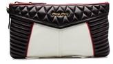 Miu Miu Women's Nappa Quilted Leather Clutch Handbag Black.