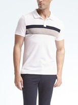Banana Republic Slim Luxury Touch Chest-Stripe Polo