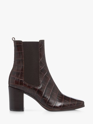 Dune Post Leather Croc Ankle Boots, Brown