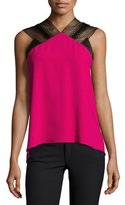 Roland Mouret Dave Lace-Trim Drape-Back Top