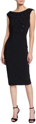 Chiara Boni Sequin Dot Sleeveless Sheath Dress