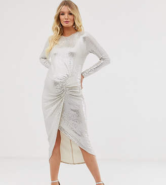 Queen Bee longe sleeve ruched midaxi in white sequin-Silver
