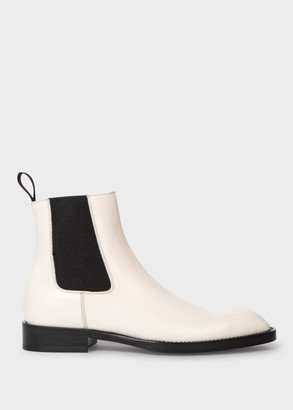 Women's Off White Leather 'Stealth' Chelsea Boots