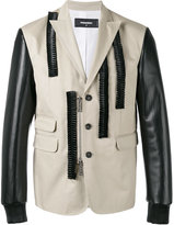 DSQUARED2 leather ruffle blazer - men - Cotton/Polyester/Resin - 46