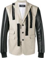 DSQUARED2 leather ruffle blazer