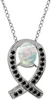 Gem Stone King 1.49 Ct Oval Cabochon White Simulated Opal Black Diamond 925 Silver Pendant