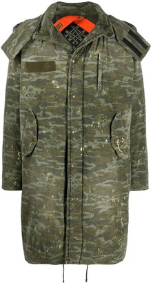 Mr & Mrs Italy camouflage print hooded parka