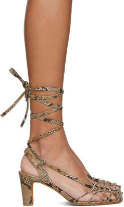 Maryam Nassir Zadeh Brown Snake Maribel Strappy Sandals