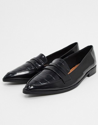 ASOS DESIGN Maltby pointed loafers in black croc
