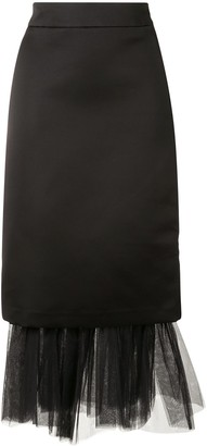 SHUSHU/TONG Tulle Hem Pencil Skirt