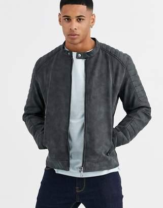 Esprit faux leather biker jacket in washed black