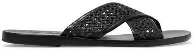 Ancient Greek Sandals Thais Woven Raffia And Leather Slides - Black