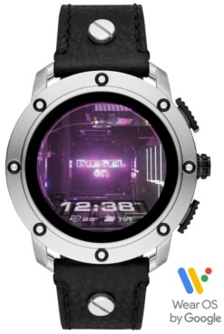 Diesel Tech Men's Axial Black Leather Studded Strap Touchscreen Smart Watch 48mm, Powered by Wear Os by Google