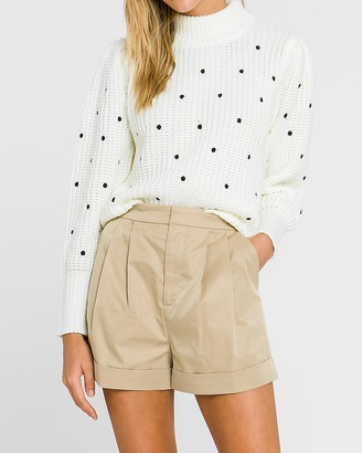 Express English Factory Polka Dot Embroidered Turtleneck Sweater