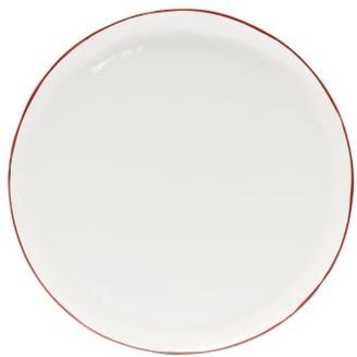 Cake Feldspar - Painted-rim Fine China Plate - Red White