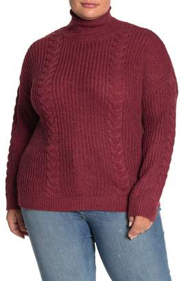 Planet Gold Back Button Turtleneck Sweater (Plus Size)