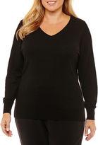 WORTHINGTON Worthington Long Sleeve V Neck Pullover Sweater-Plus
