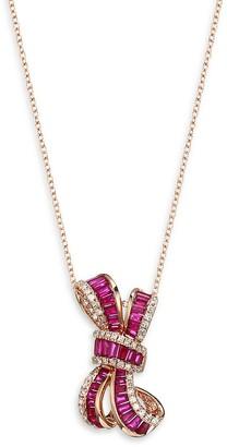 Effy 14K Rose Gold, Ruby Diamond Bow Pendant Necklace