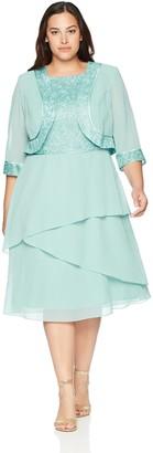 Le Bos Women's Size Glitter Jacket Dress Plus