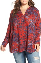 Lucky Brand Vintage Print Top (Plus Size)