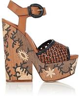 Sergio Rossi WOMEN'S CARVED-PLATFORM LEATHER SANDALS