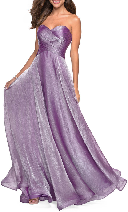 La Femme Strapless Metallic Chiffon Gown with Ruched Bodice