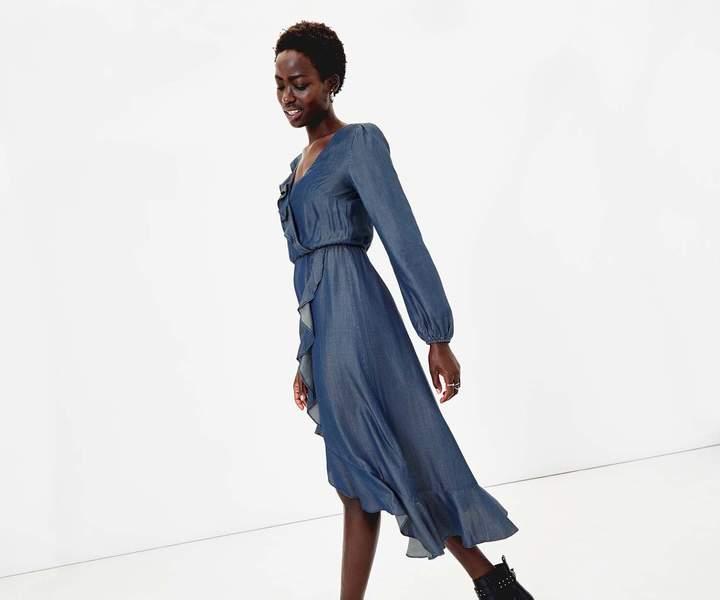 Oasis Frill Wrap Midi Dress