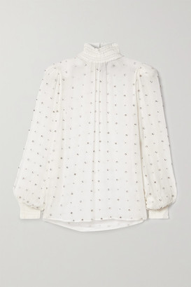retrofete Ava Crystal-embellished Shirred Silk-crepon Blouse - White