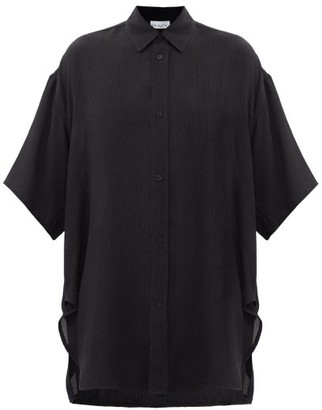 Raey Wide-sleeve Curved-hem Silk Shirt - Black