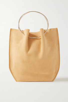 The Row Flat Circle Suede Tote - Mustard