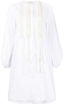 Power poplin fringe-embellished dress