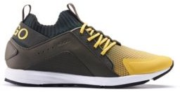 HUGO BOSS Logo Sneakers With Hybrid Uppers And Knitted Sock - Light Yellow