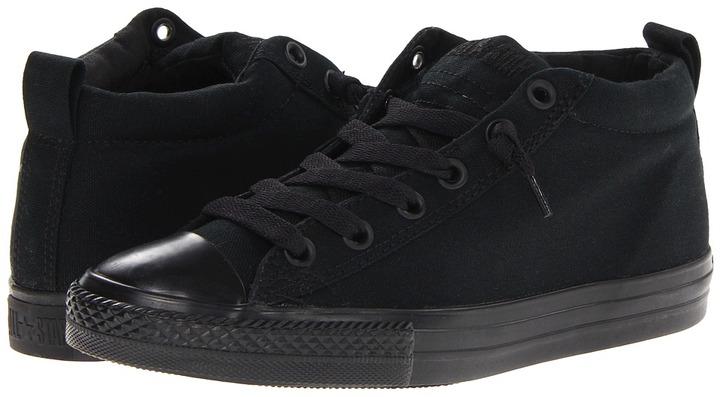 Converse Chuck Taylor All Star Street Cab Mid (Little Kid/Big Kid) (Black Mono) - Footwear