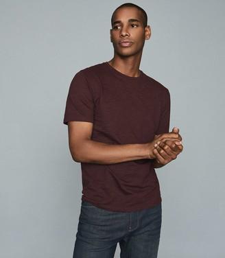 Reiss RYAN Melange Cotton Blend T-Shirt Bordeaux