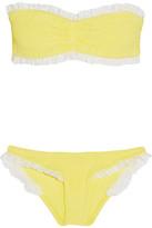 HUNZA G Lucille Ruffled Seersucker Bandeau Bikini - Pastel yellow