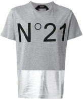 No.21 metallic panel logo T-shirt - men - Cotton - XL