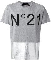 No.21 metallic panel logo T-shirt