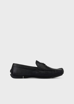 Emporio Armani Driver Moccasins In Leather With Logo