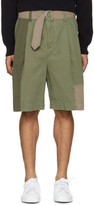 3.1 Phillip Lim Green Patchwork Oversized Shorts