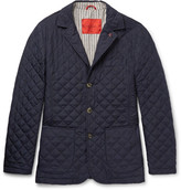 Isaia Quilted Checked Shell Jacket