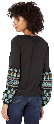Rock and Roll Cowgirl Billow Sleeve Top Puff Print 48T7641