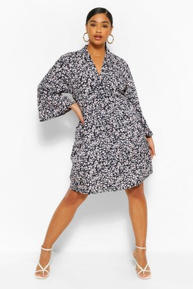 boohoo Plus Floral Midi Sleeve Shirt Dress
