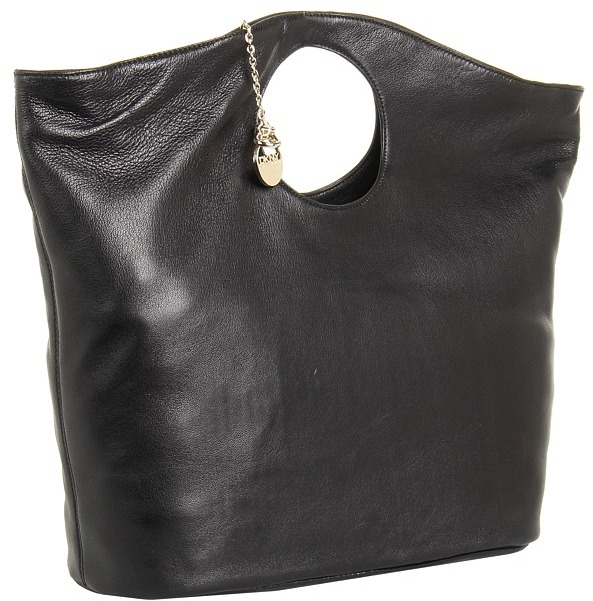 DKNY Pure Large Round Tote (Black) - Bags and Luggage