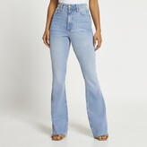 Thumbnail for your product : River Island Womens Blue high waisted bum sculpt flared jeans