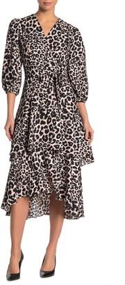 Calvin Klein Leopard Print Ruffled Midi Dress
