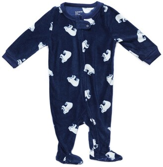 Leveret Navy Blue Polar Bear Footed Fleece Sleeper